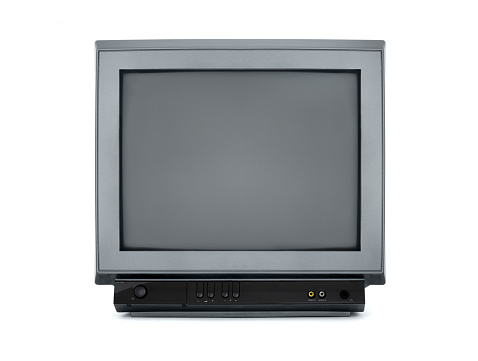 Portable television from the 80s - on white background