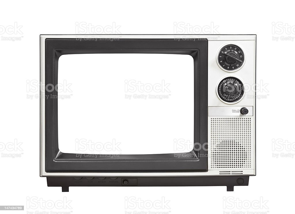 Portable Television Set with Empty Screen Isolated stock photo