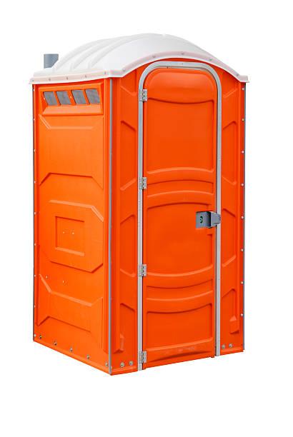 """Portable Toilet """"Orange portable toilet, isolated on white"""" portable toilet stock pictures, royalty-free photos & images"""