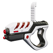 istock Portable Virtual AR Game Gun, 3D rendering isolated on white background 1020197492