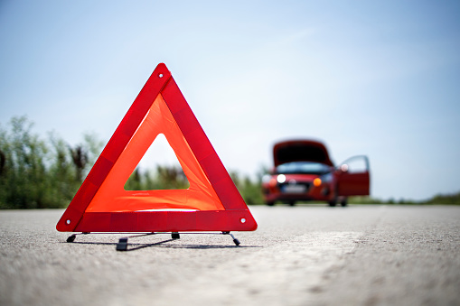Warning triangle placed on the road