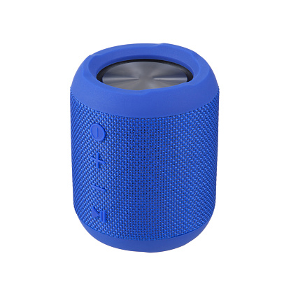 Portable Wireless Bluetooth Speaker Isolated on White. Side View of Blue Stereo Sound System with Splashproof Fabric Design. Cell Phone Accessories