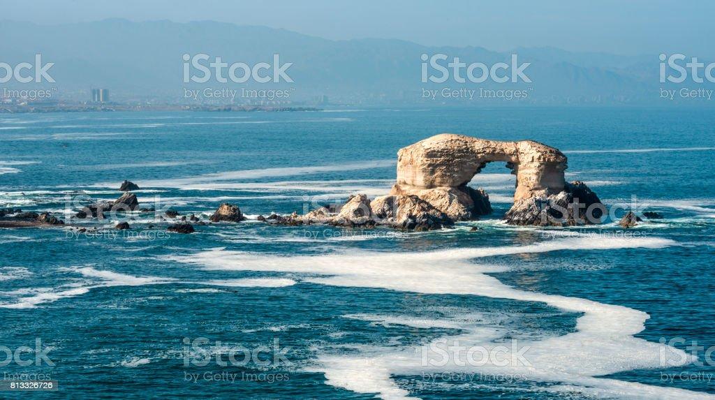 Portada (Arch) Rock Formation, Chilean Coastline, La Portada National Reserve, Antofagasta, Chile stock photo