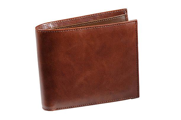 portafoglio in pelle marrone - leder portemonnaie herren stock-fotos und bilder