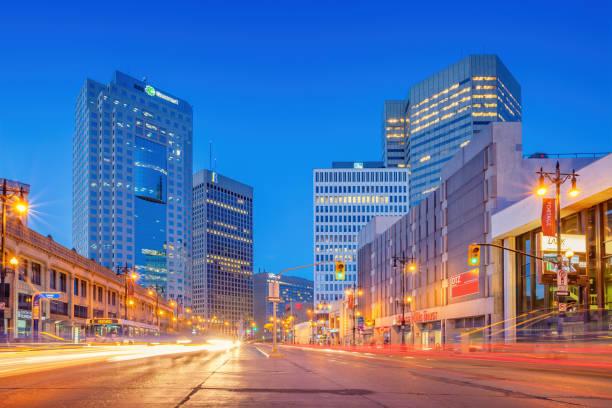 Portage Avenue downtown Winnipeg Manitoba Canada stock photo
