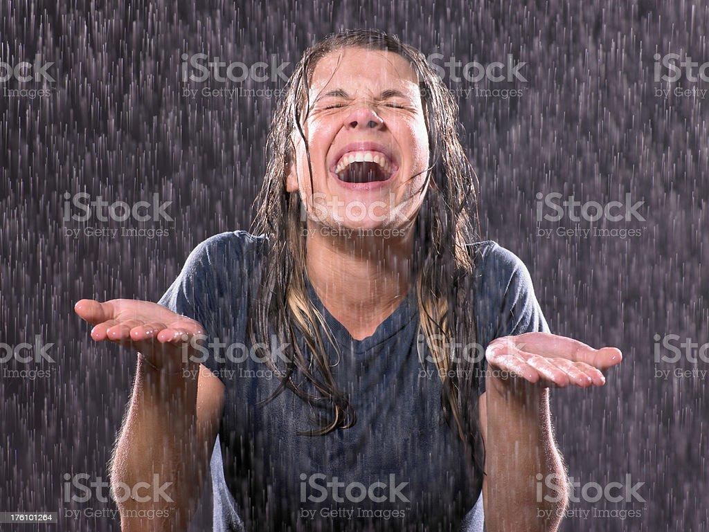 Portait of teenage girl in a rain royalty-free stock photo