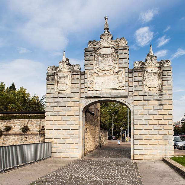 Portal at entrance of La Taconera Park, Pamplona, Spain stock photo