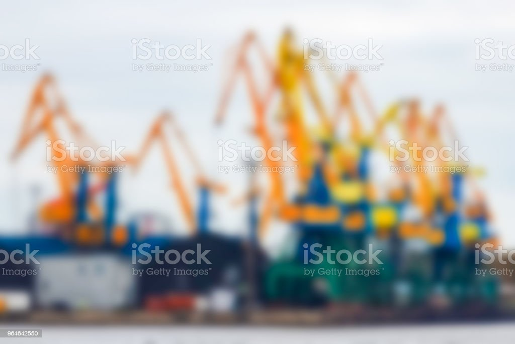Portal cargo cranes - blurred image royalty-free stock photo