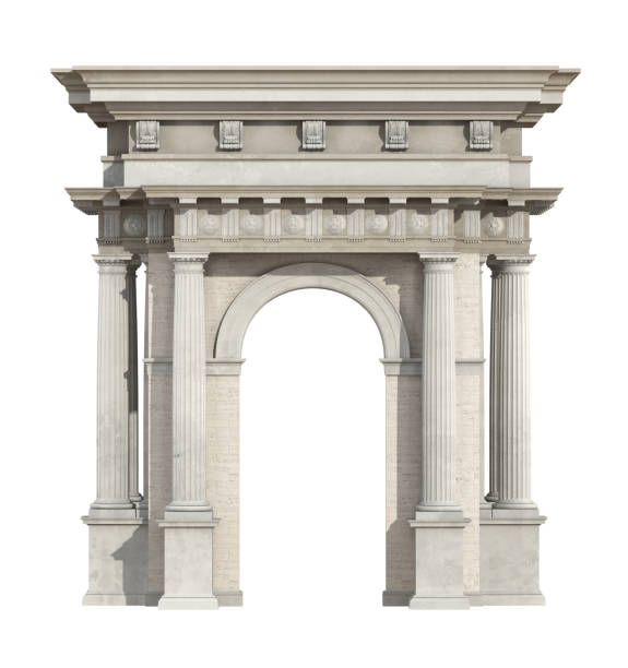 Portal in neoclassical style isolated on white Portal in neoclassical style isolated on white with arch and Doric column - 3d rendering the portal does not exist in reality, Property model is not necessary neo classical stock pictures, royalty-free photos & images