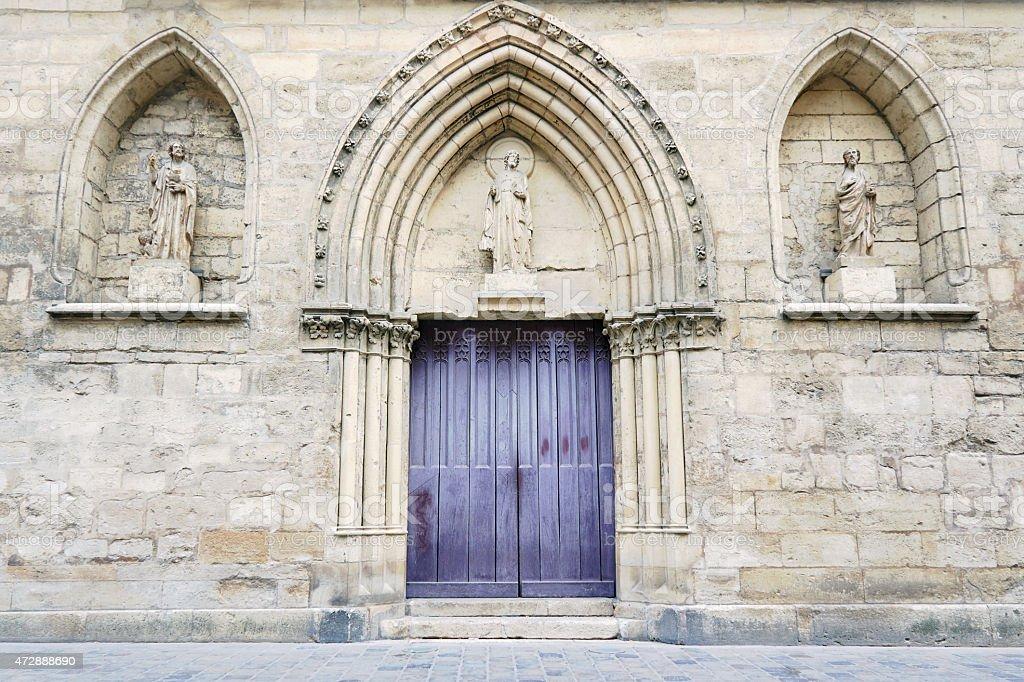 Portal in romanesque church stock photo