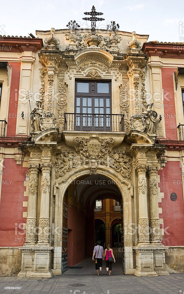 Portal of Archbishop's Palace in Seville, Spain stock photo
