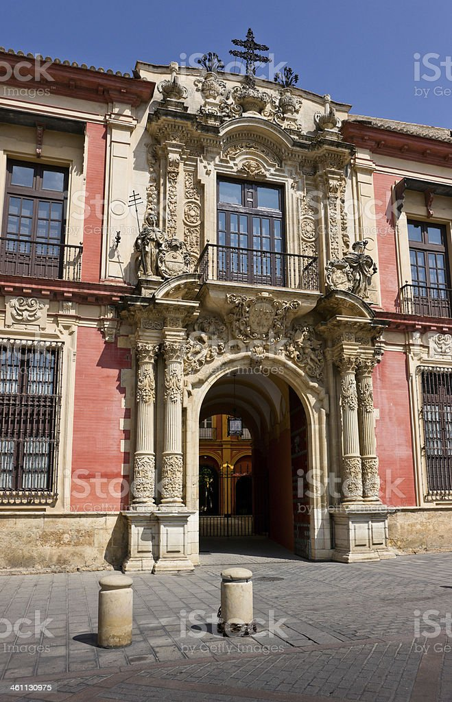 Portal of Archbishop's Palace in Seville, Spain royalty-free stock photo