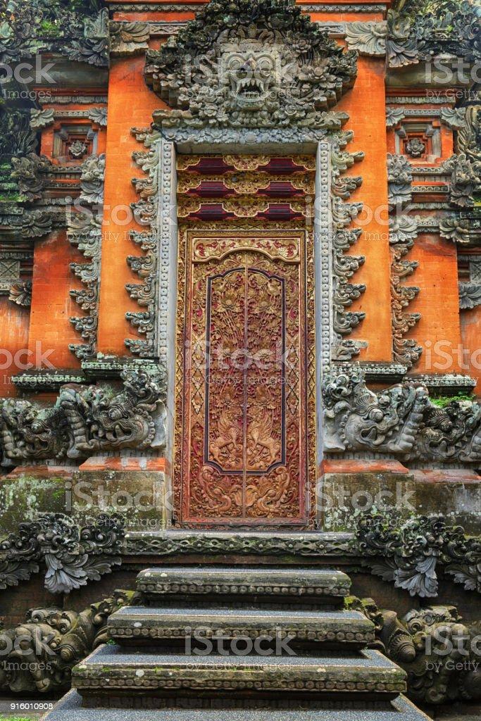 Portal of Saraswati Temple, Ubud, Bali stock photo