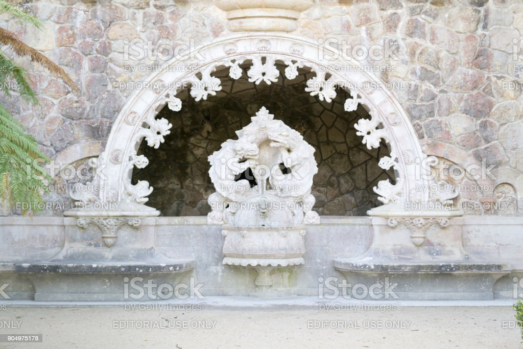 Portal of the Guardians at Quinta de Regaleira stock photo