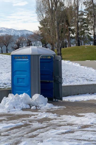 Portapotty in Snow stock photo