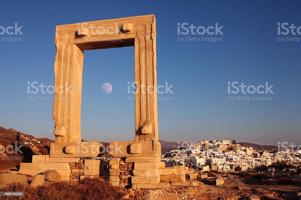 Portara gate in Naxos Greece. stock photo