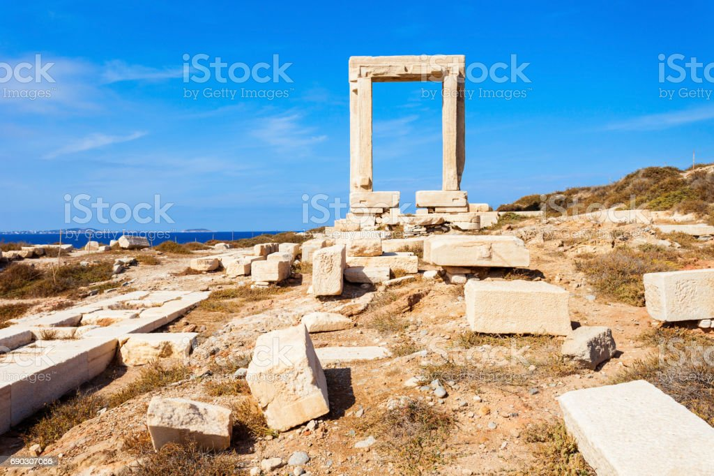 Portara Palatia, Naxos island stock photo