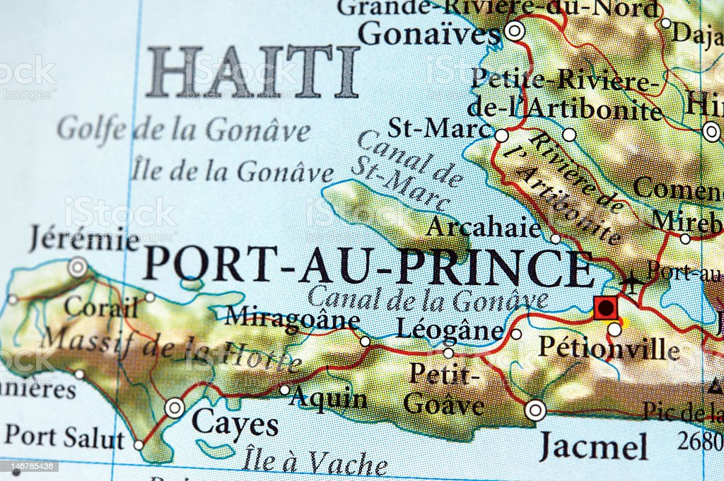 Port-au-Prince drawn out on the map stock photo