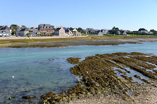 Port-Bail in France Seaside resort at low tide of Port-Bail or Porbail, a commune in the peninsula of Cotentin in the Manche department in Lower Normandy in north-western France cherbourg stock pictures, royalty-free photos & images