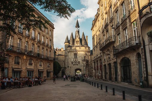 Porte Cailhau, one of the main entrances to the old city, in Bordeaux, France.