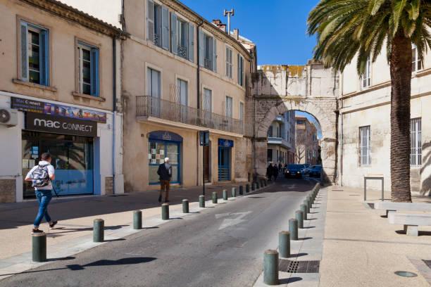 Porte de France in Nîmes stock photo