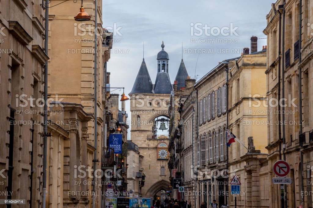 Porte Saint James (Saint James Gate) also known as Grosse Cloche (Big Bell) in the city center of Bordeaux. This medieval gothic gate is one of the symbols of the older part of the city stock photo