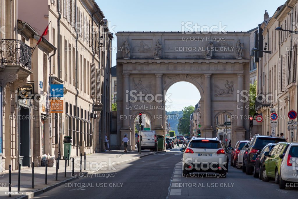 """Porte Stanislas in Nancy Nancy, France - June 24 2020: The Porte Stanislas is a city gate built in Doric style by architect Richard Mique in 1761 to replace an arch originally created by Emmanuel Héré, it is located at the west end of rue Stanislas.""""n Architecture Stock Photo"""