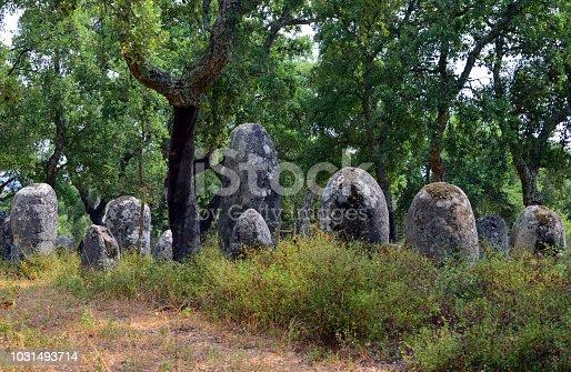 istock Portela de Mogos Cromlech - megalithic complex - menhirs, Évora, Alentejo, Portugal 1031493714