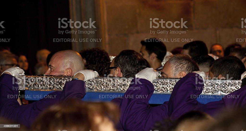 porters during semana santa in Madrid royalty-free stock photo