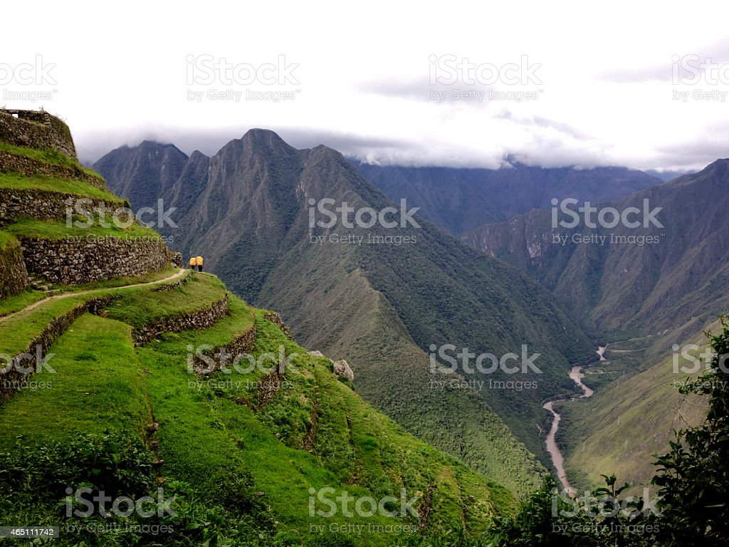 Porters on the Inca trail, Machu Picchu Peru stock photo