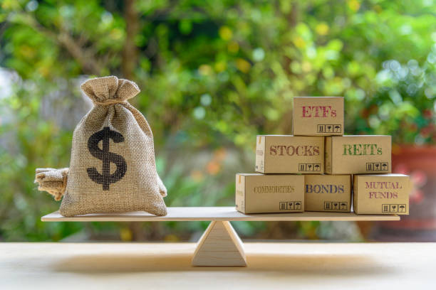 portfolio management and asset allocation concept : dollar bag, financial products on balance scale e.g etfs, reits, stocks, commodities, bonds, mutual funds, depicts balancing between risk and return - stock certificate stock photos and pictures