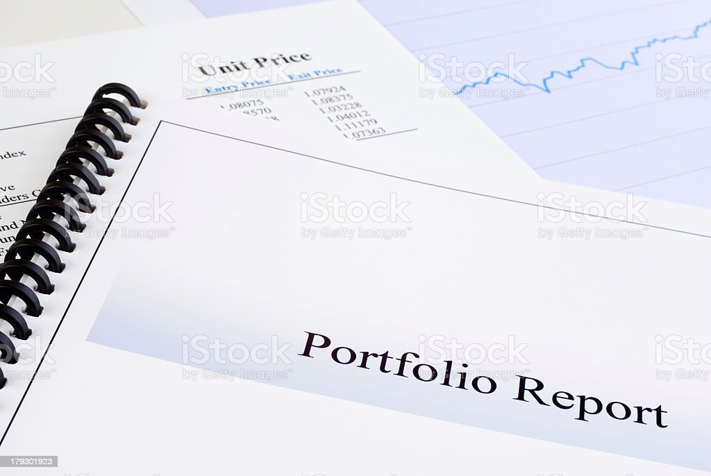 Portfolio Report Brochure Unit Price Graph Investment  Paperwork Document Blue stock photo