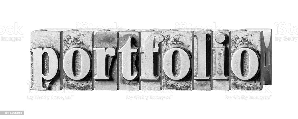 Portfolio written in metal printing press letters royalty-free stock photo