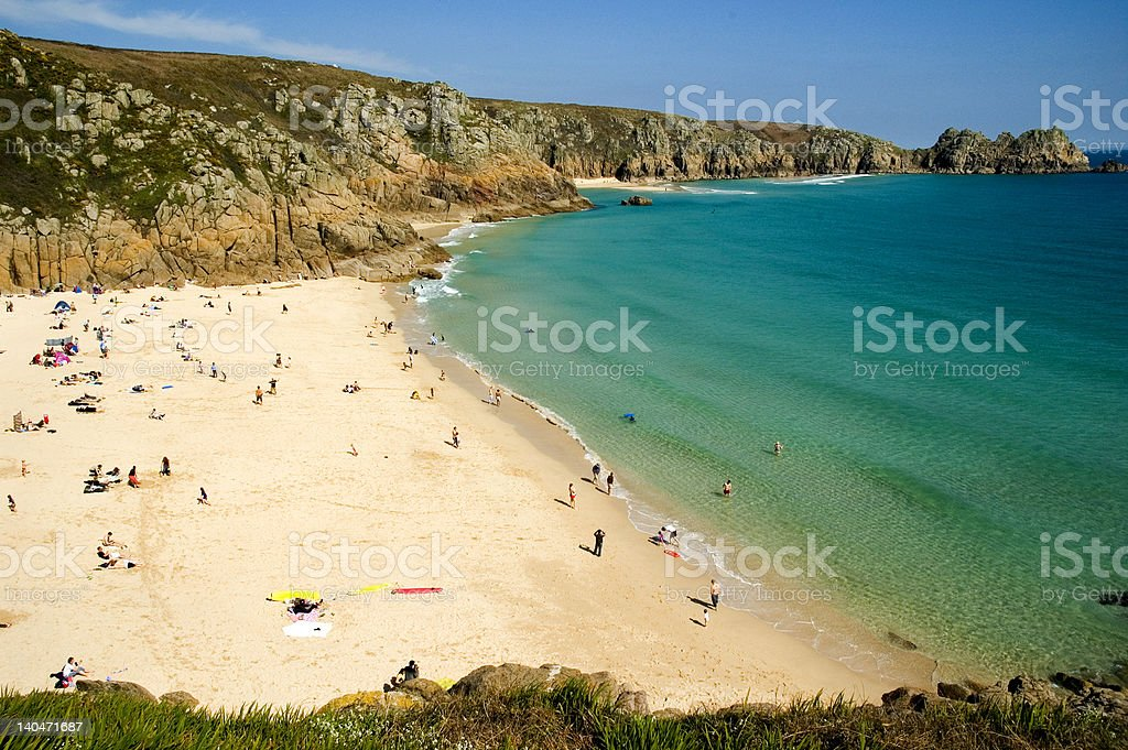 Porth Curno Beautiful beach in Cornwall, England stock photo