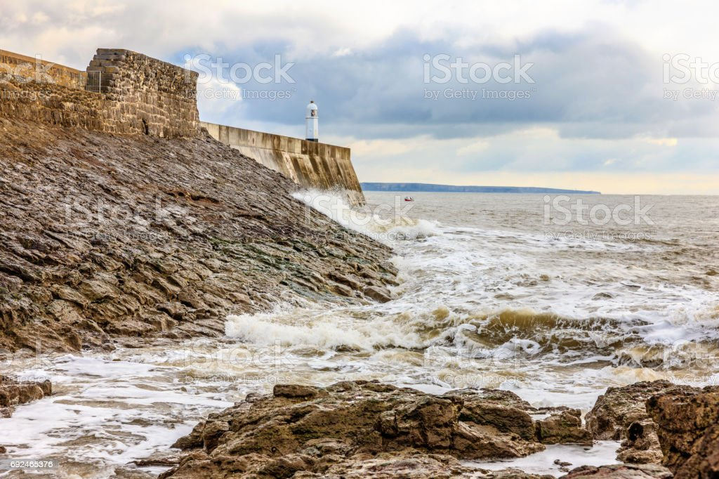 Porthcawl lighthouse and coastline stock photo
