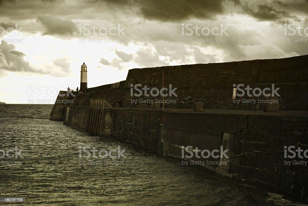 Porthcawl lighthouse near sunset royalty-free stock photo