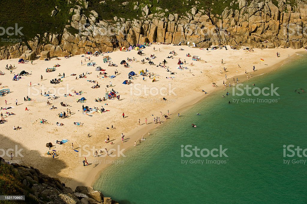 Porthcurno Beach, Cove, Cornwall, England stock photo
