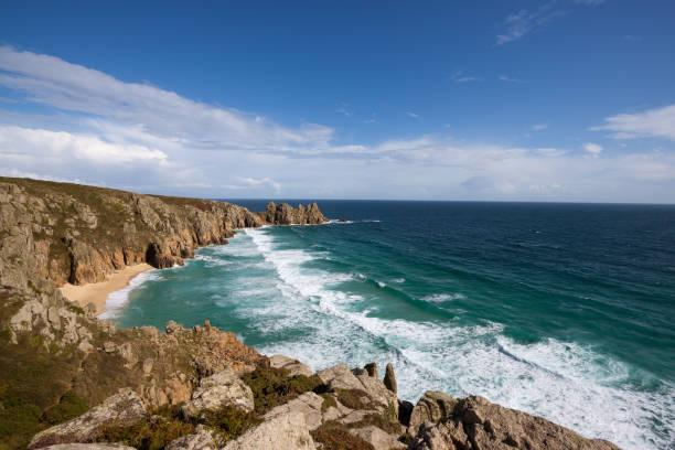 Porthcurno Beach in Cornwall stock photo