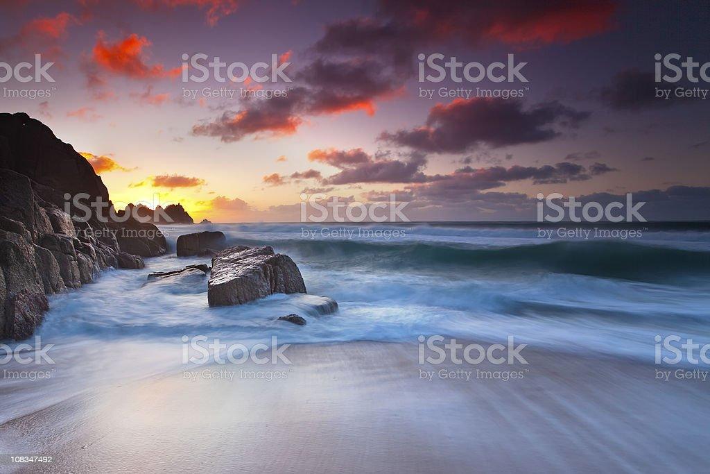 Porthcurno Sunrise royalty-free stock photo