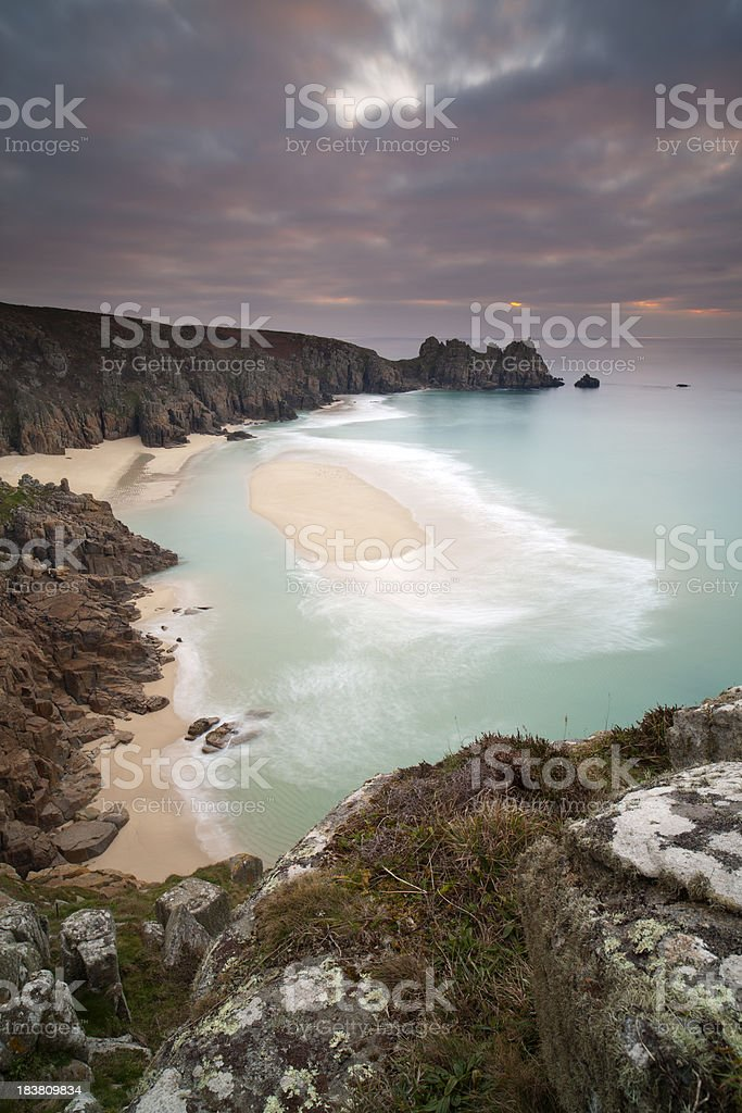 Porthcurno Sunrise. royalty-free stock photo