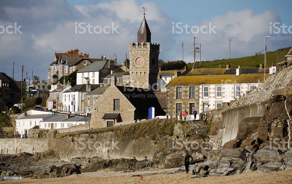 Porthleven buildings taken from the beach; Cornwall stock photo