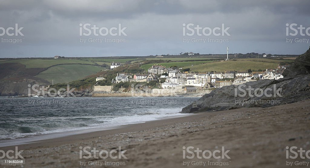 Porthleven from Loe Bar stock photo