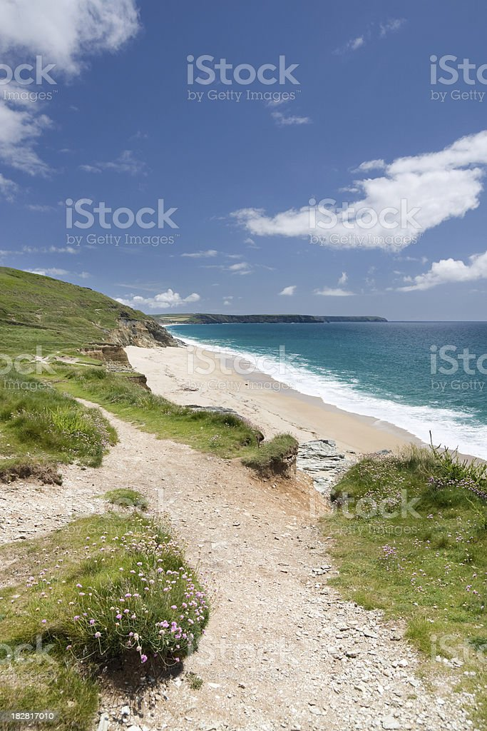 Porthleven Sands beach on the south coast of Cornwall stock photo