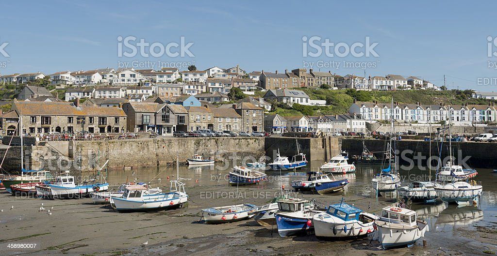 Porthleven Village in Cornwall UK stock photo