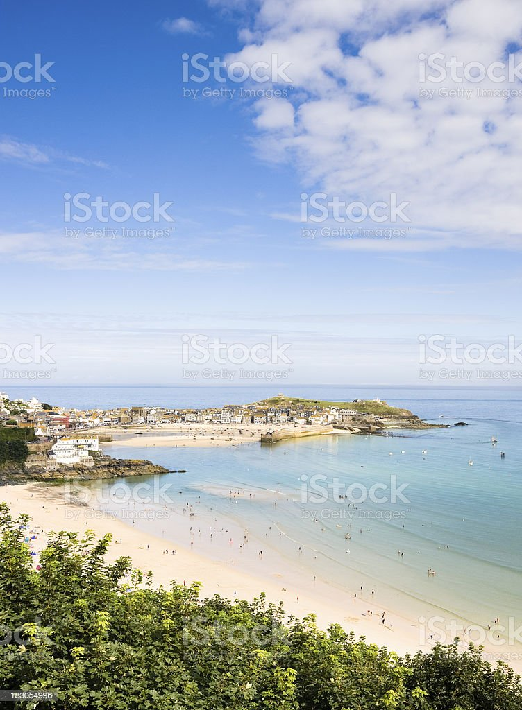 Porthminster beach and St Ives on the coast of Cornwall royalty-free stock photo