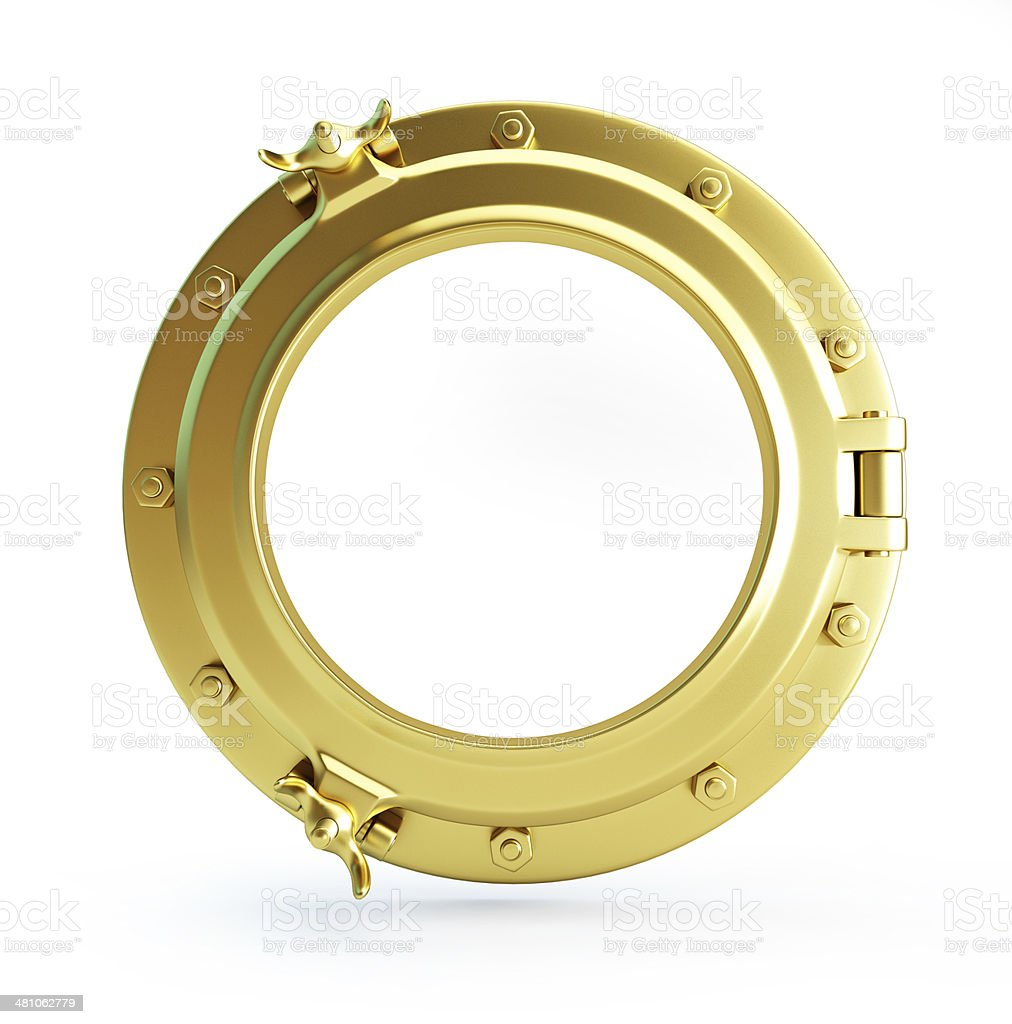 porthole gold stock photo