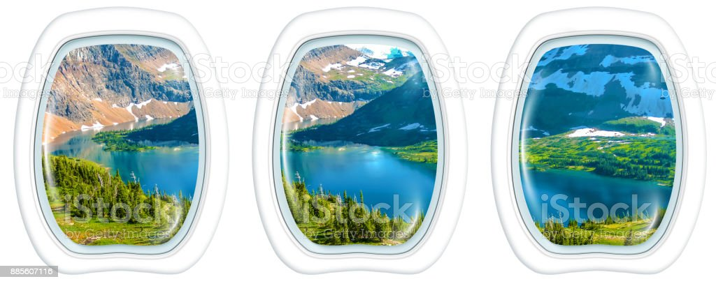 Porthole Hidden Lake Glacier stock photo