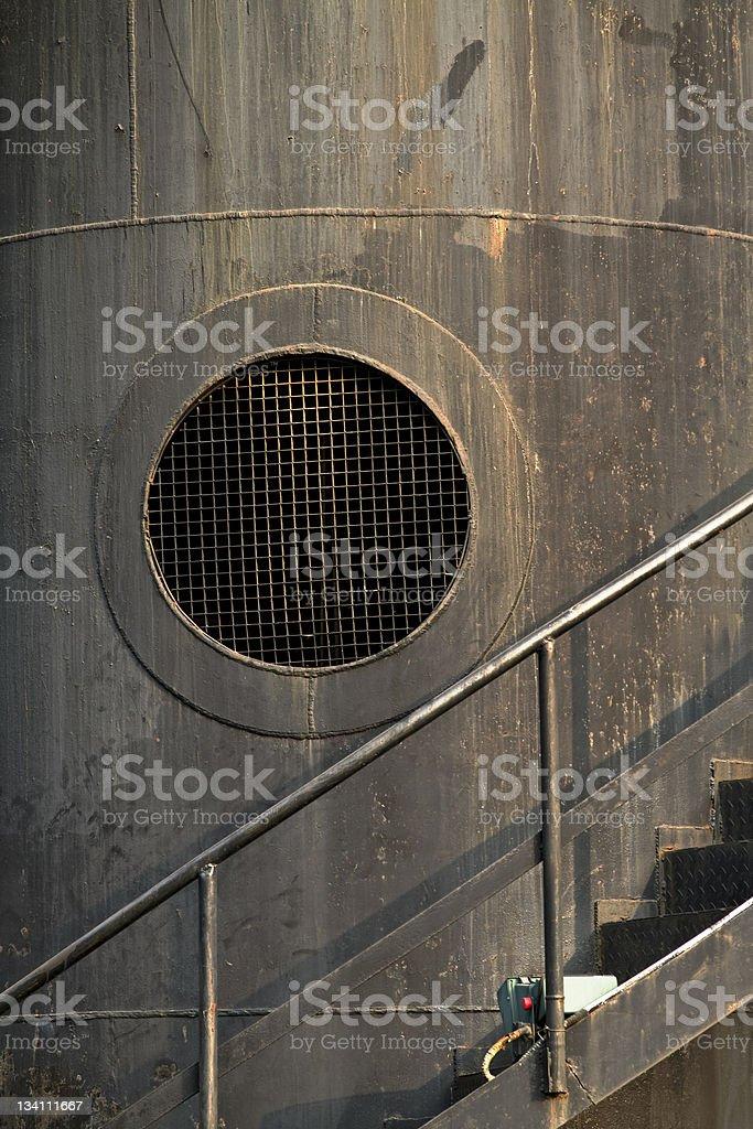 Porthole Vent on old Chimney stock photo