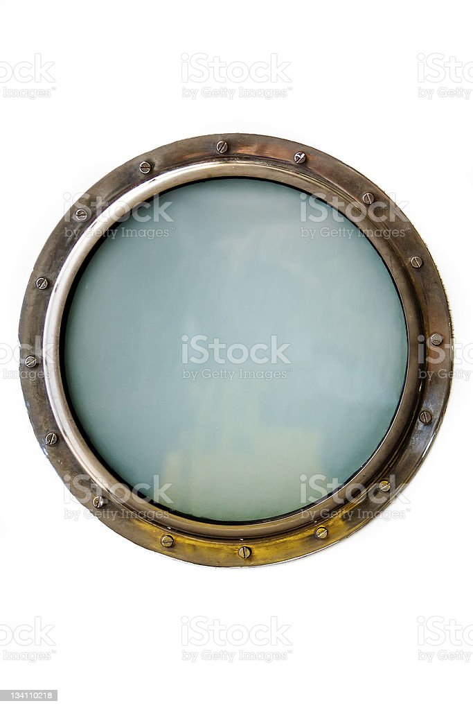 A porthole window isolated on a white background stock photo
