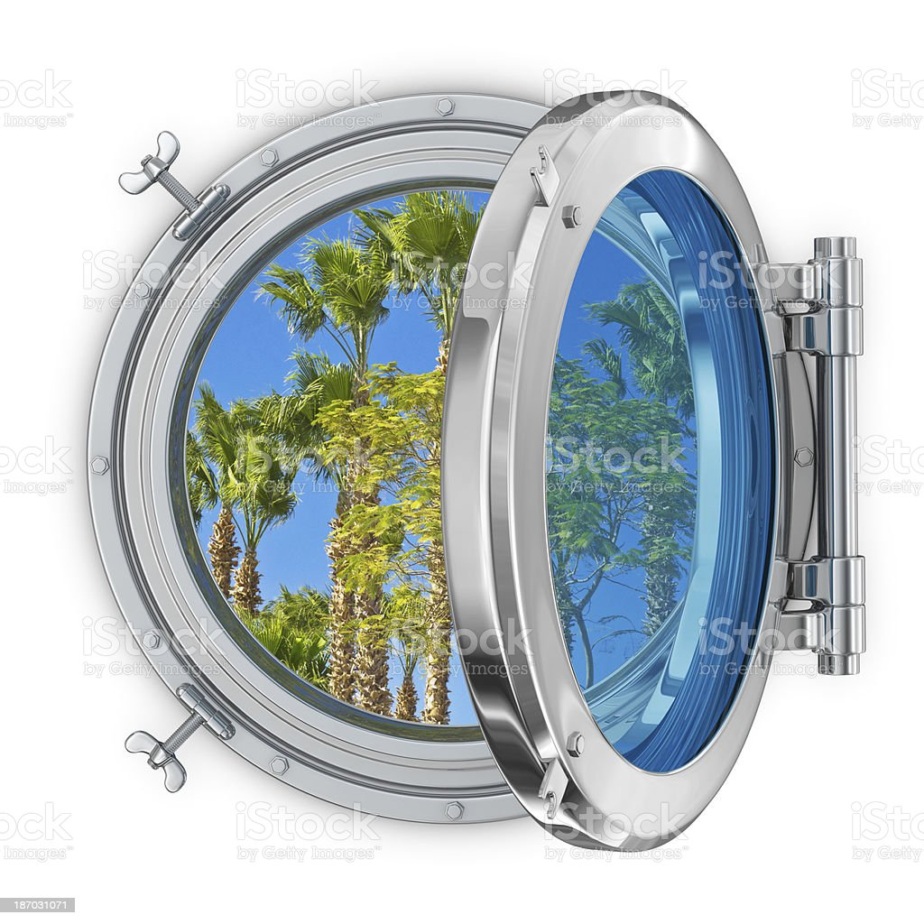 Porthole with a View of Palm Trees royalty-free stock photo